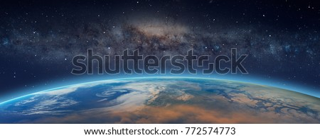 """Planet Earth in front of the Milky Way galaxy """"Elements of this image furnished by NASA """""""
