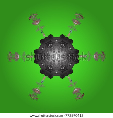 New year snowflake. Nice abstract snowflakes vector design. Flat snow doodle icons, snow flakes silhouette in green, gray and neutral colors for christmas banner, cards. #772590412