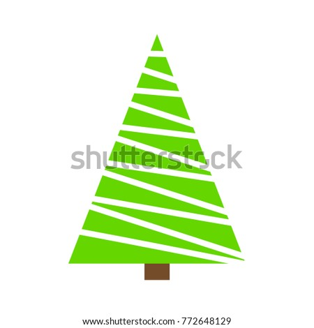 Christmas tree green simple outline design isolated on white background #772648129
