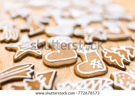 Decorated gingerbread for christmas eve #772678573
