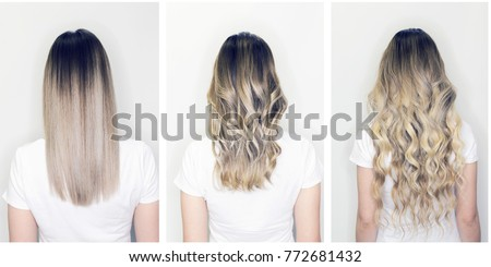 Hair extension or wig step by step tutorial. Blonde long hair with balayage or ombre hairstyle. Back view of beautiful woman with curly volume hair #772681432