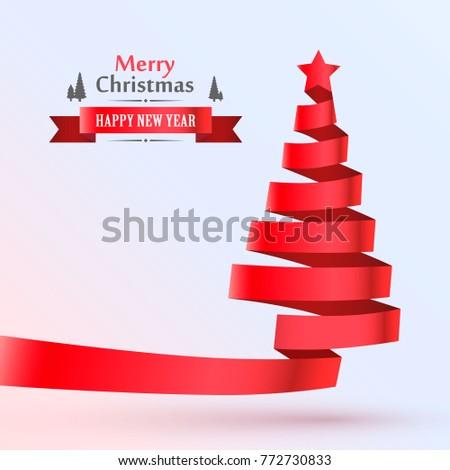 Christmas tree tape design banner. Vector illustration #772730833