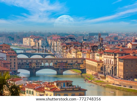 Ponte Vecchio over Arno river in Florence, Italy #772748356