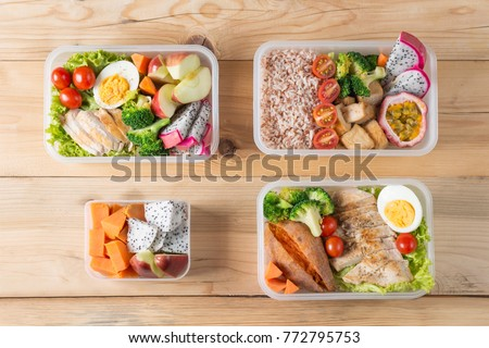 Various of Healthy lunch boxes, bento packed set in plastic package, clean food meal, Top view. Diet food delivery concept. #772795753