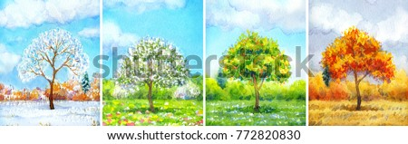 """Colorful beautiful bright watercolour on paper backdrop with space for text. Series """"Different seasons"""". White cumulus in blue heaven over valley with lush tree, wildflowers and firs on horizon forest"""
