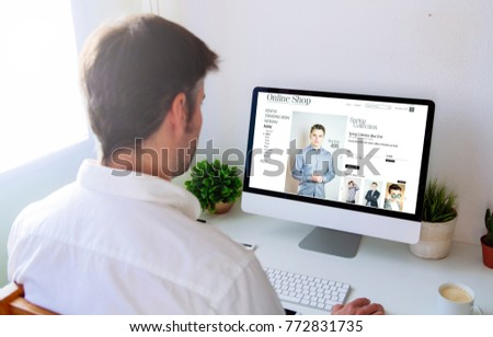 Man shopping online on computer #772831735