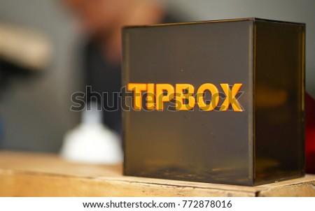 tip box at cafe, Bangkok,Thailand #772878016