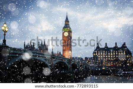 snowing in london, UK - winter in the city #772893115