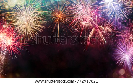 Abstract colored firework background with free space for text. Celebration and anniversary concept #772919821