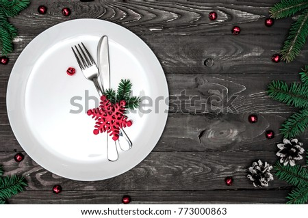 Christmas table setting with christmas decorations. Flat lay, top view, copy space  #773000863