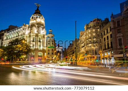 Beautiful cityscape view of Calle de Alcala and Gran Via at blue hour, Madrid, Spain #773079112