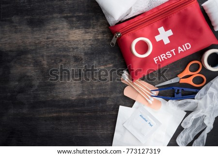 First aid medical kit on wood background,copy space,top view #773127319