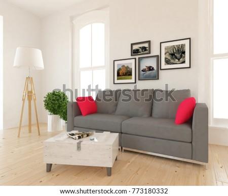 White scandinavian room interior with grey sofa. Home interior design. 3d illustration. #773180332