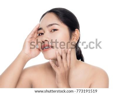 Beautiful woman face close up portrait studio on white background #773191519