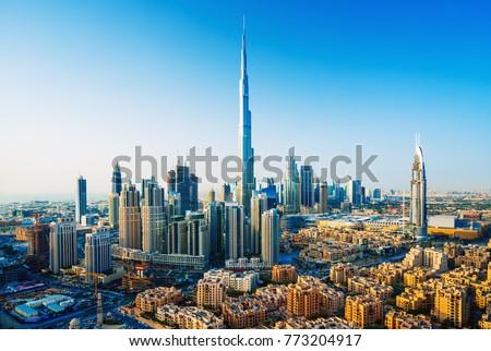 Amazing view on Dubai downtown skyscrapers, Dubai, United Arab Emirates Royalty-Free Stock Photo #773204917
