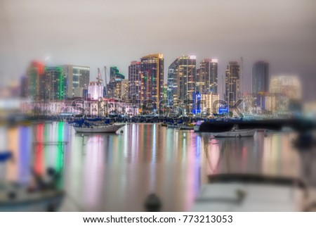 Night skyline of San Diego from city port. #773213053