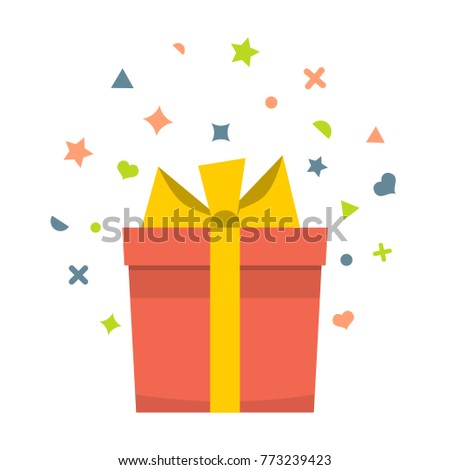 Beautiful cardboard and paper gift box with lid and ribbon. Vector illustration #773239423