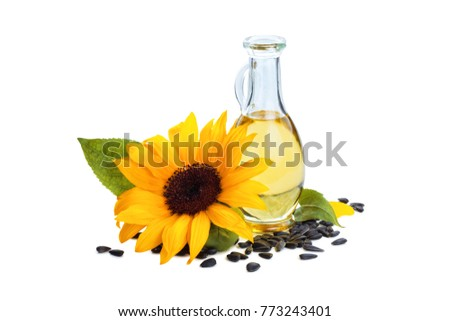 Sunflowers, sunflower oil and sunflower seeds. Isolated on white background.   #773243401