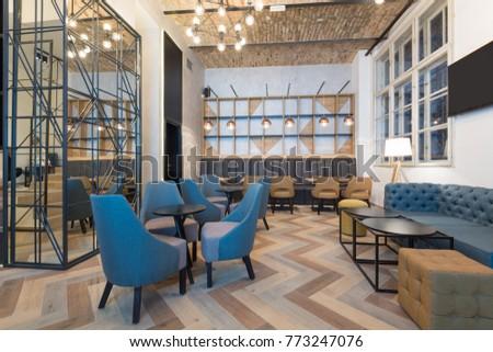 Hotel lobby cafe interior #773247076