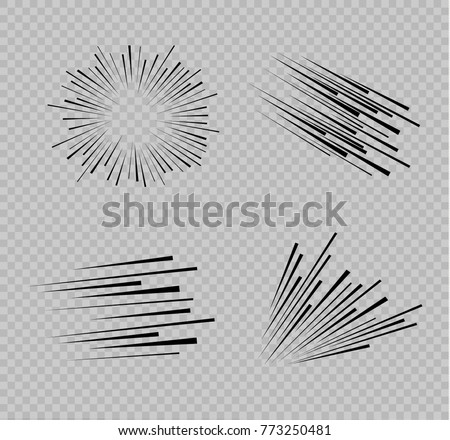 Set of isolated speed lines. The effect of movement to your design. Black lines on a transparent background.The flying particles.vector illustration.The movement forward. Royalty-Free Stock Photo #773250481
