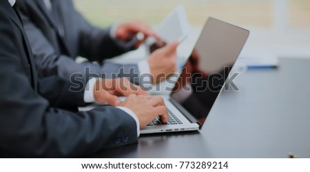 business people working with digital tablet and laptop #773289214