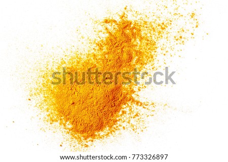 Turmeric (Curcuma) powder pile isolated on white background, top view #773326897