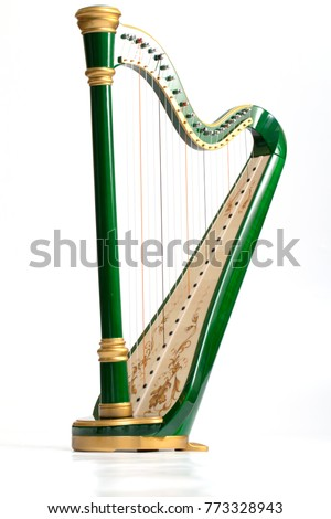 Celtic irish harp, classical and traditional string music instrument, isolated white background Royalty-Free Stock Photo #773328943