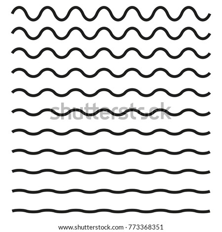 Set of wavy horizontal lines. Vector design element Royalty-Free Stock Photo #773368351