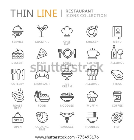 Collection of restaurant thin line icons Royalty-Free Stock Photo #773495176