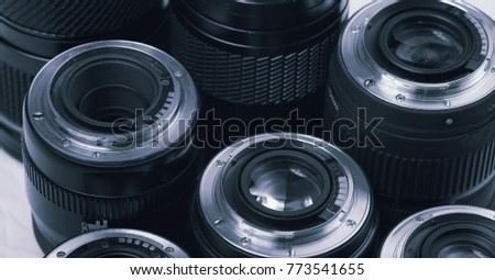 Camera accessories professional photography lenses and macro details