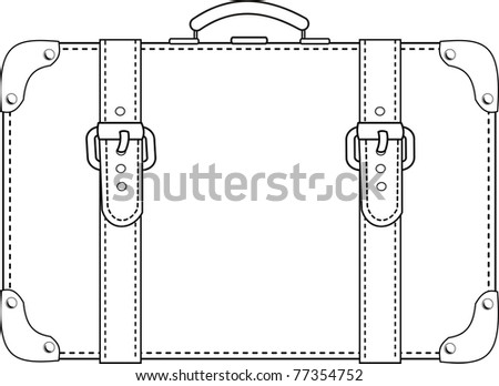 Leather suitcase with straps contour - isolated illustration on white background