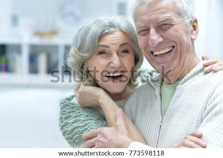 Happy senior couple at home #773598118