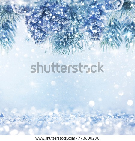 Christmas light background.  Holiday glowing backdrop. Defocused Background With Blinking Stars. Blurred Bokeh. #773600290