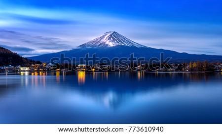 Fuji mountain and Kawaguchiko lake in morning, Autumn seasons Fuji mountain at yamanachi in Japan. #773610940