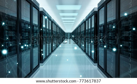 Server room center exchanging cyber datas and connections 3D rendering #773617837