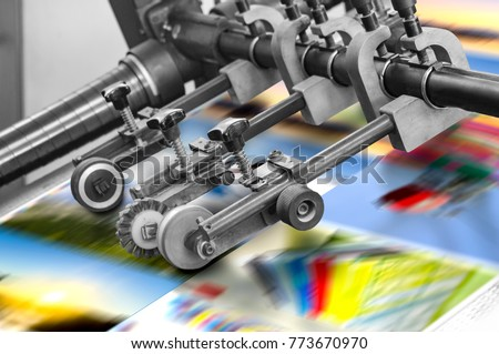 Printing at high speed on offset machine. Label, Rolled Up, Printing Out, Group of Objects, Merchandise #773670970