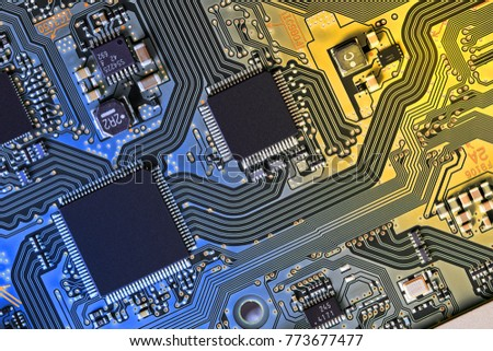 Electronic circuit board close up.  #773677477