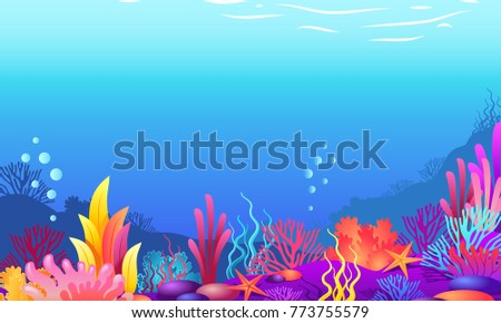 Ocean background. Coral and wonderful ocean bottom #773755579
