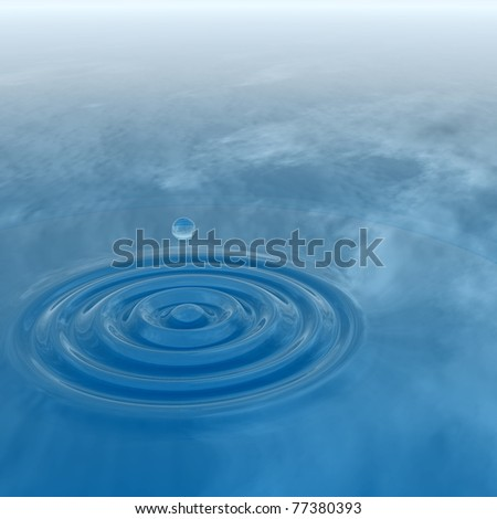 High resolution conceptual blue water drop falling, generating a natural background #77380393