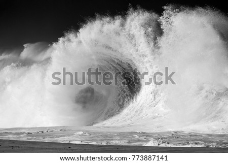 large wave flaring, beach, black and white, tsunami, powerful, dramatic