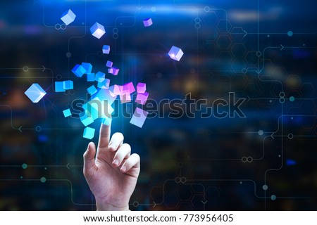 Female hand pointing at abstract glowing cubes on blurry circuit background. Innovation and creativity concept. Double exposure  #773956405