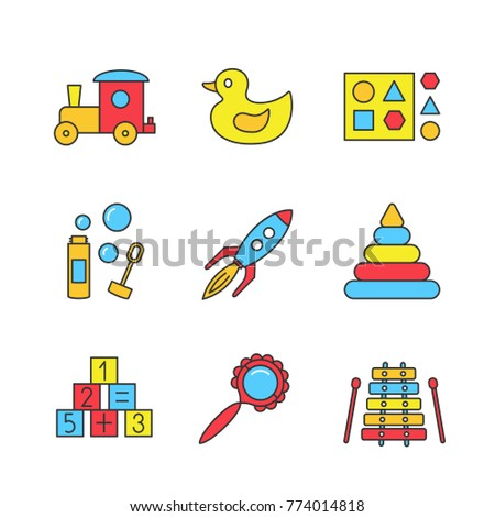 Kids toys color icons set. Train, rubber duck, shape sorter toy, bubble blower, rocket, pyramid, math blocks, rattle, xylophone. Isolated raster illustrations