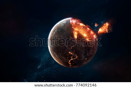 Planet explosion. Apocalypse in space, destroying cosmic object. Elements of this image furnished by NASA Royalty-Free Stock Photo #774092146