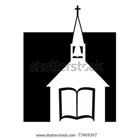 black and white church design layout with steeple, Bible, bell, and cross