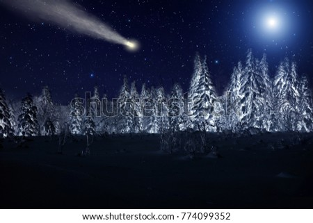 Moon and comet over night winter forest. Night sky with stars. Winter night landscape. Spruce forest in winder #774099352