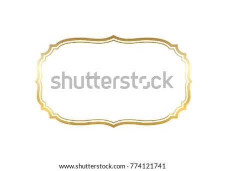 Gold frame. Beautiful simple golden design. Vintage style decorative border isolated white background. Elegant gold art frame. Empty copy space decoration, photo, banner illustration #774121741