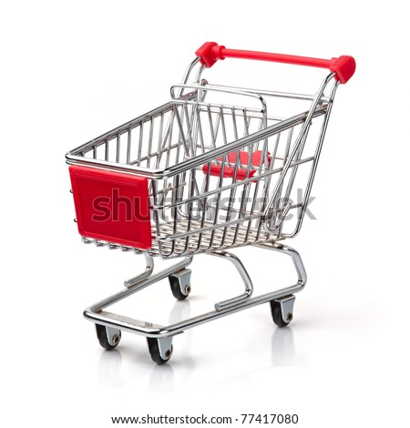 A Shopping Cart Isolated On White Royalty-Free Stock Photo #77417080