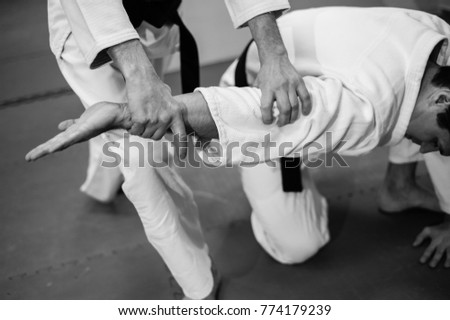 Fight between two aikido fighters Royalty-Free Stock Photo #774179239