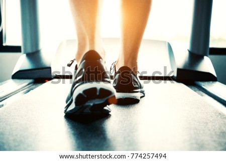 Close up of people who exercising on treadmill. Close-up of woman legs walking by treadmill in sports club. Fitness and Body build up concept. Workout and Strength training concept. Sport club theme.  #774257494