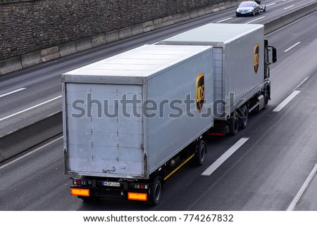 FRANKFURT,GERMANY-DECEMBER 01,2017:  UPS truck on the freeway.United Parcel Service is an American multinational package delivery company and a provider of supply chain management solutions. #774267832